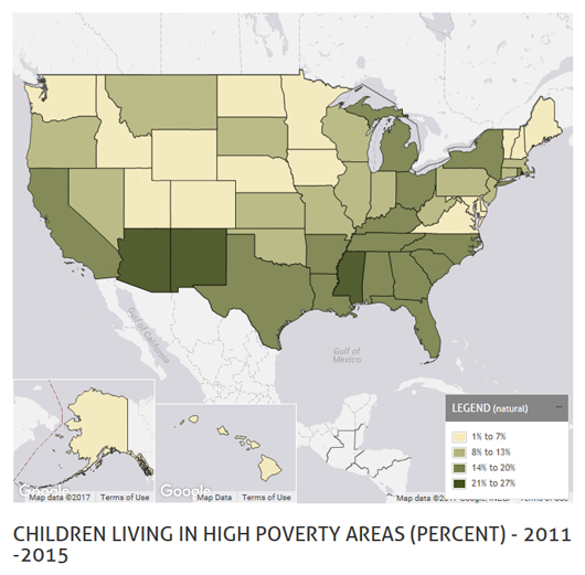 Children living in high poverty areas