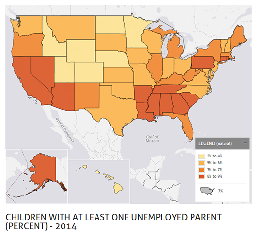 Fewer children living with at least one unemployed parent